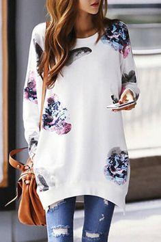 Stylish Jewel Neck Long Sleeve Printed Asymmetrical Sweatshirt For Women