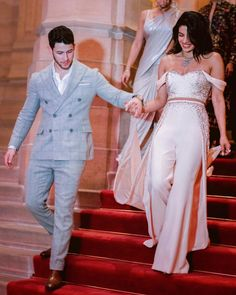 Priyanka Chopra's reception Dress Comes within the Most noble Shade of Blue Priyanka Chopra and Nick Jonas taken off their wedding festivities in urban cent Wedding Reception Outfit, Pre Wedding Party, White Wedding Gowns, Wedding Dresses, Post Wedding, Wedding Events, Wedding Ceremony, Wedding Dinner, Wedding Outfits