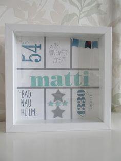 stempeltörtchen: * Willkommen Matti * - Holiday World Shadow Box Picture Frames, Box Frames, Baby Wall Decor, Diy Wedding Gifts, Creative Box, Baby Christening, Frame Crafts, Craft Box, Welcome Baby