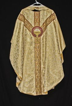 5pc-GOLD-CHASUBLE-STOLE-Festive-Priest-Vestments-Church-Clergy-Christmas