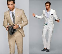 Two styles of blazer combos I have yet to try. More willing to try the one of the right with white blazer and light blue shirt.