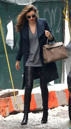 Miranda Kerr Street Style - Leather Pants