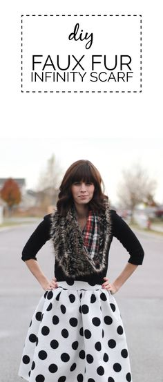 DIY Infinity Scarf, featuring faux fur and plaid. Great for winter!