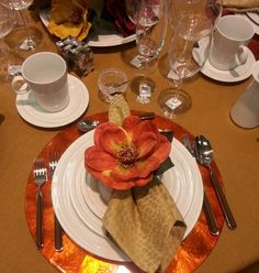 Fall colors for Halloween,  autumn birthday party or Thanksgiving table setting beauty at Gracious Home,  NYC