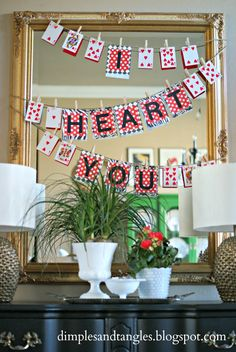 Dimples and Tangles: VALENTINE'S DECOR, easy playing card heart banner mirror, valentine day, heart banner, card heart, valentine decorations, banner idea, playing cards, valentin decor, dimpl