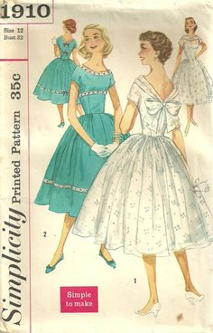 Simplicity 1910 Vintage 50s Sewing Pattern by studioGpatterns, $14.50