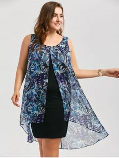 6aa687e5f91a Robe Sans Manches Style Haut-Bas avec Mousseline Superposée Grande-Taille -  Bleu -