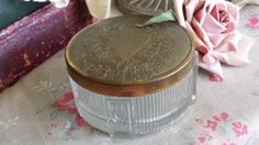 New to NostalgiqueBoutique on Etsy: Gorgeous Vintage Dressing Table Powder Pot Decorative Lid and Tulip Decorated Glass (9.00 GBP)