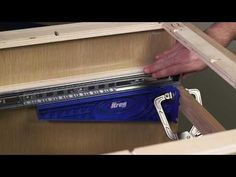 Installing drawer slides doesn't have to be difficult. The Kreg Drawer Slide Jig eliminates the guesswork and makes the process easy by holdi. Kreg Tools, Jet Woodworking Tools, Woodworking Store, Woodworking Machinery, Woodworking Projects, Wood Projects, Woodworking Images, Woodworking Articles, Woodworking Jigsaw