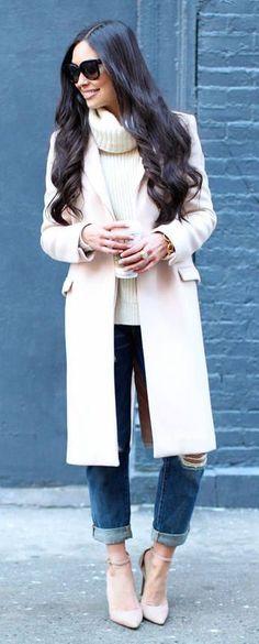 #fall #fashion / white turtleneck knit