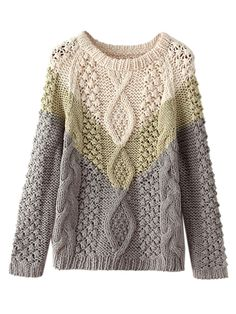 So Pretty! Love this Sweater! Cozy Mint Green Grey and White Color Block Cable Knit Sweater |