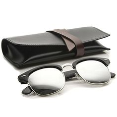 000964ed86 Amazon.com  zeroUV - Premium Half Frame Horn Rimmed Sunglasses with Metal  Rivets (Black-Black   Brown)  Clothing