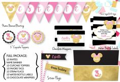 Minnie Full Party Package + Invites/Minnie Matching Party Package/Custom Party Package by LoudThoughtsDesign on Etsy https://www.etsy.com/au/listing/518463528/minnie-full-party-package-invitesminnie