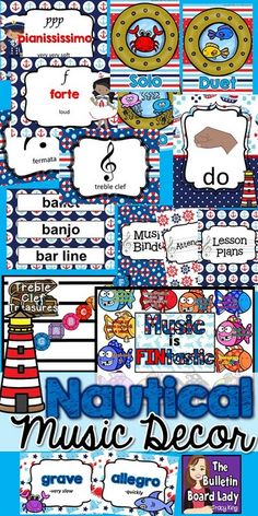 Sail through the school year with this easy to prep HUGE bundle of decor files for the music classroom.  Tempo, dynamics, ensembles, advocacy, treble clef names and more are included in this 258 page download. Dive in! Classroom Design, Music Classroom, Classroom Organization, Classroom Decor, School Classroom, Kindergarten Music, Preschool Music, Elementary Music, Upper Elementary