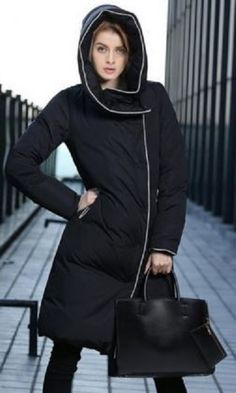 Trendy Black Turn-Down Collar Long Sleeve Long Hooded Coat For Women #Hooded #Puffer #Coat #Winter #Fashion