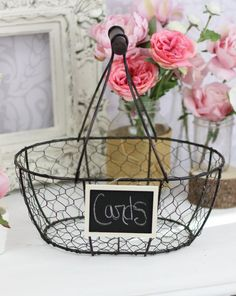 An easy DIY - A wire basket and chalkboard sign - Perfect for cards on the welcome table. Source: braggingbags #cardbox