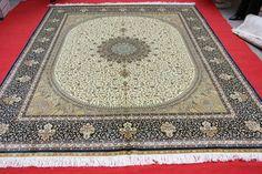 Nós dobro coloridos 100% Handmade Centro Medalhão Floral Shah Abbassi projeto persa de seda carpete e tapete 8x10-A58 para a venda!