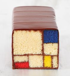 Cake is ART: Pastry chef Caitlin Freeman's Mondrian cake from her book Modern Art Desserts: Recipes for Cakes, Cookies, Confections, and Frozen Treats Based on Iconic Works of Art.  Yum!