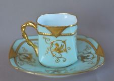 French Rare Collectible Porcelain Cup & Saucer Gold Enamel Chimera Etienne Son