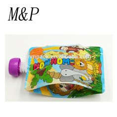 Chinese factory reusable stand up zipper baby food spouted pouch