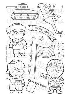 Our Heroes clear stamp set from Deasy Designs