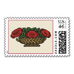 Red Flowers in a Basket Stamps