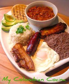 Bandeja Paisa or Paisa Meal Tray