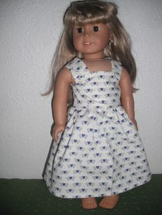 I just listed 18 Inch American Girl Doll Dress Blue Hearts Print on The CraftStar @TheCraftStar #AmericanGirlDoll