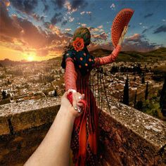 Spain, Granada by Murad Osmann Murad Osmann, Travel Outfit Spring, Cool Photos, My Photos, Amazing Photos, Creative Photos, Voyager Loin, Photo Series, New Adventures