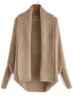Lapel Batwing Sleeve Knit Cardigan