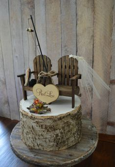 Country adirondack chair wedding cake topper by for Fishing themed cake toppers