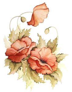 m Watercolor Cards, Watercolor Flowers, Watercolor Paintings, Art Floral, Fabric Painting, Painting & Drawing, Flower Prints, Flower Art, Botanical Prints