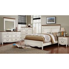 Shop for Furniture of America Ophelie Cottage Style 4-piece White Platform Bedroom Set. Get free delivery at Overstock.com - Your Online Furniture Shop! Get 5% in rewards with Club O! - 18034248