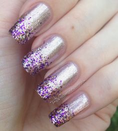 Pink and Purple Sparkly Tips - The Nailinator