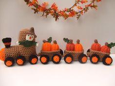 Crochet Pattern for Pumpkin Train; fall crochet pattern $6.99 http://crochetvillage.com//