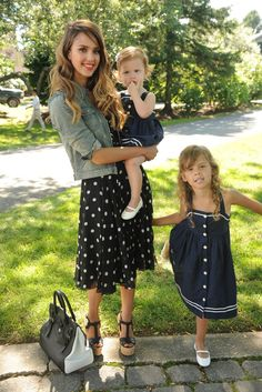Jessica Alba with her daughters, Haven and Honor at the Ralph Lauren Girls' Fall Runway Show.