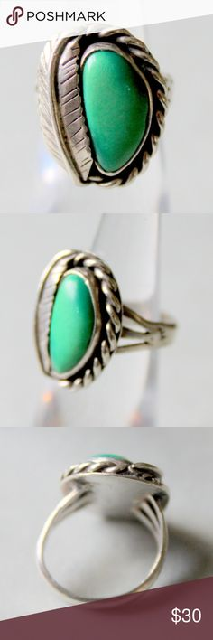 Vintage Green Turquoise Sterling Silver 925 Native American made Sterling silver and turquoise ring.  circa 1970s.  great condition.  Size 5 Vintage Jewelry Rings