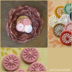 Organza flower with Dorset buttons by Rjabinnik and Rounien, via Flickr