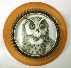 Vegetable Ivory Button w Gorgeous Owl Design Under Glass Dome