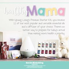 A diffuser as well as a lot of the essential oils mentioned above (Frankincense, Copaiba, Purification, Lavender, and Stress Away) come in the Premium Starter Kit.