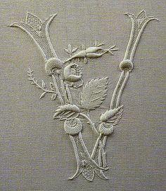 embroidered v