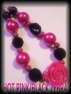Hot pink and black zebra chunky necklace