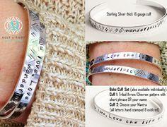 Personalized Graduation Gift Inspirational Bracelet || Boho Bohemian Sterling Cuff Stamped Mantra Custom Message || Best Friends Bracelet