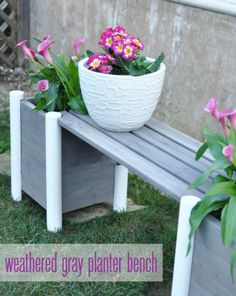 weathered gray and white planter bench