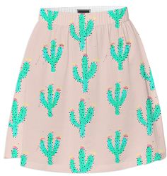 Cactus Print Skirt by Bouffants & Broken Hearts on  Print All Over Me
