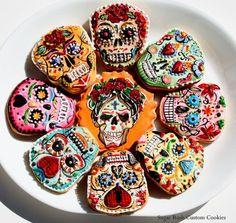 Sugar Skull Cookies.  Day of the Dead decor at http://LaFuente.com