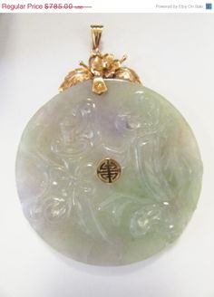 JP: Gold Translucent Carved Lavender Green Jade Pendant.