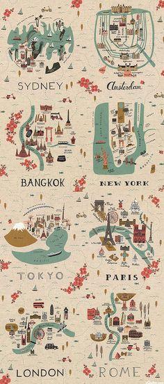 """Les Fleurs - City Maps - 24"""" x 44"""" PANEL - COTTON/LINEN"""