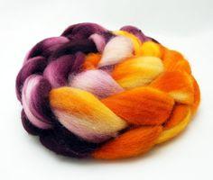 Blood Orange - Hand Dyed Roving - Spinning Fiber - BFL - Falkland - Shetland - Targhee- Cheviot - Dyed to Order