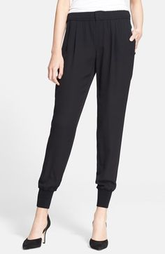 Free shipping and returns on Vince 'Jogger' Silk Pants at Nordstrom.com. Fluid silk encourages the blousy fit of these roomy, jogger-inspired trousers tailored with a pleated elastic waist and rib-knit banding.